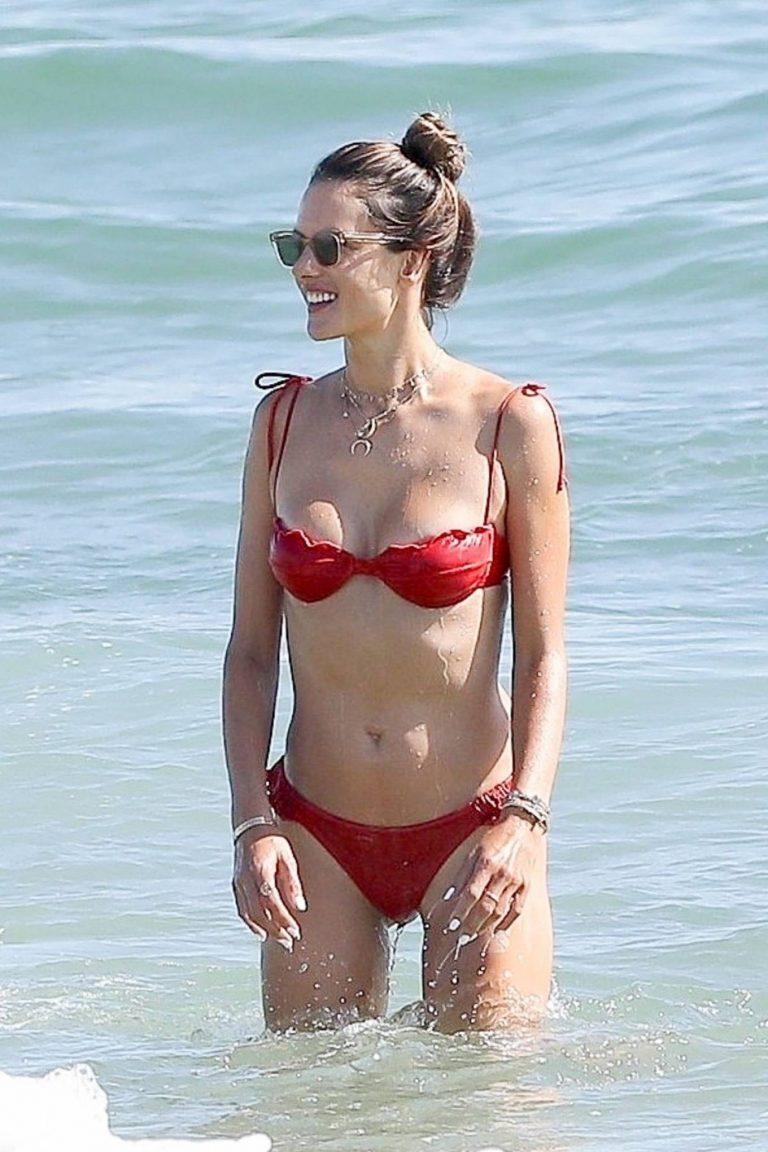 Alessandra Ambrosio In bikini at a Beach in Malibu 07