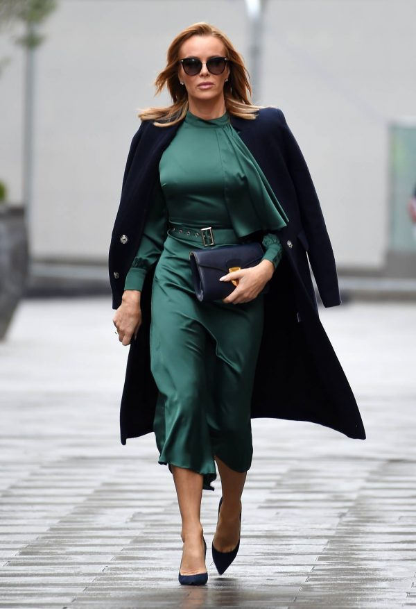 Amanda Holden In green dress at Global Studios in London 02
