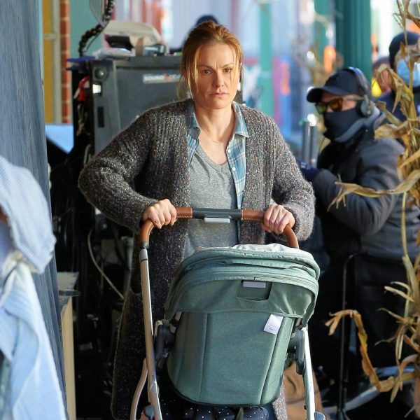 Anna Paquin On the set of Modern Love filming at Healthy Cafe in Schenectady 07