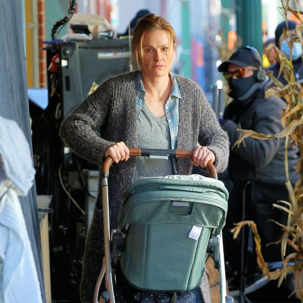 Anna Paquin On the set of Modern Love filming at Healthy Cafe in Schenectady 12