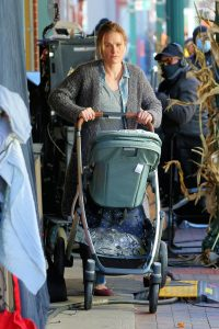 Anna Paquin On the set of Modern Love filming at Healthy Cafe in Schenectady 15