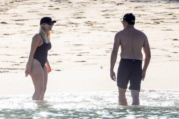Bebe Rexha In a black swimwear on the beach in Cabo San Lucas 04