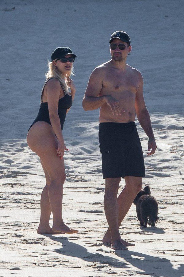 Bebe Rexha In a black swimwear on the beach in Cabo San Lucas 06