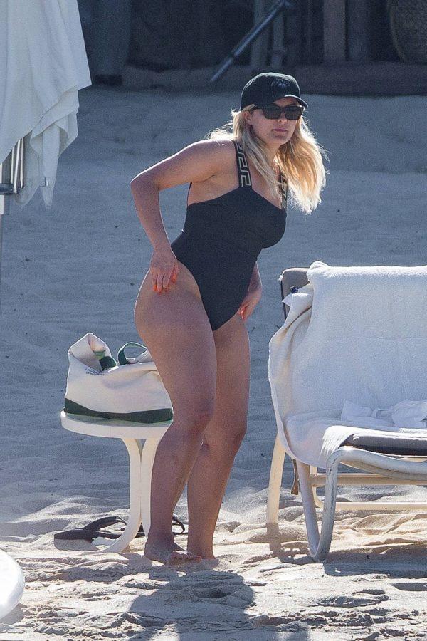 Bebe Rexha In a black swimwear on the beach in Cabo San Lucas 08