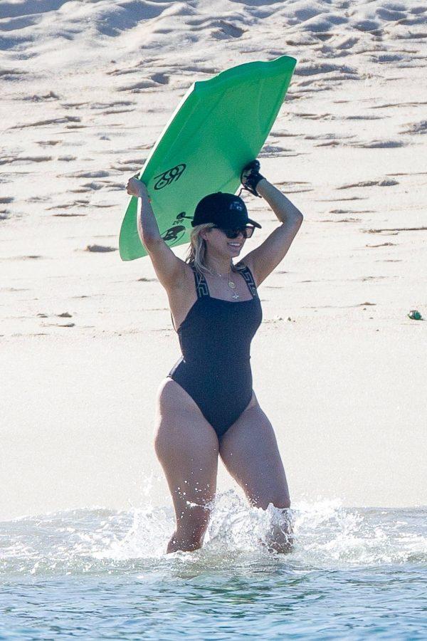 Bebe Rexha In a black swimwear on the beach in Cabo San Lucas 11
