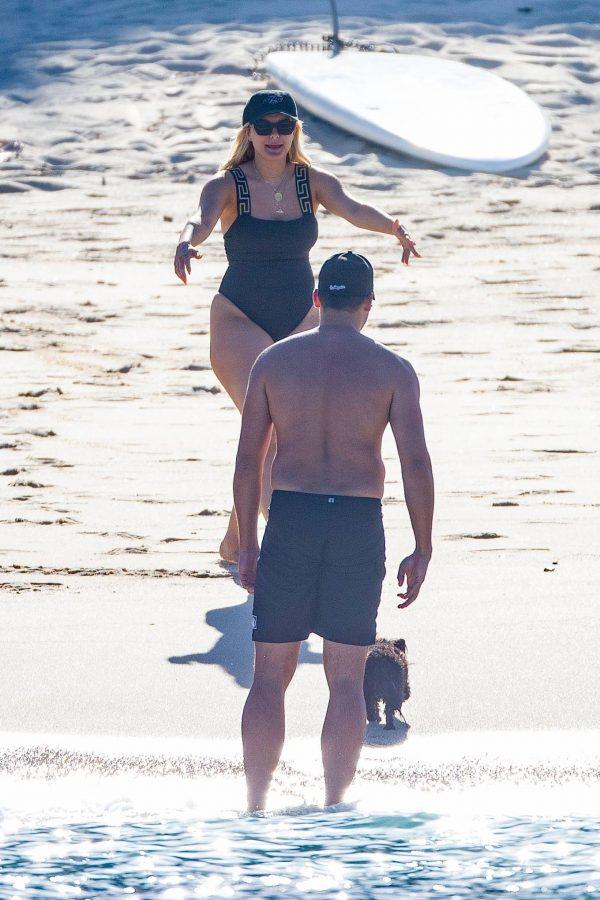Bebe Rexha In a black swimwear on the beach in Cabo San Lucas 13