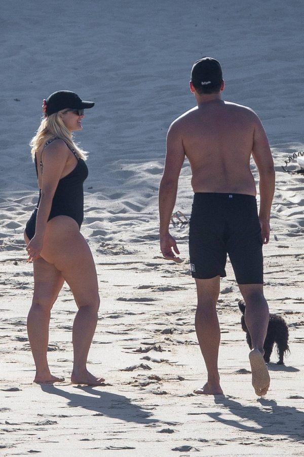 Bebe Rexha In a black swimwear on the beach in Cabo San Lucas 21