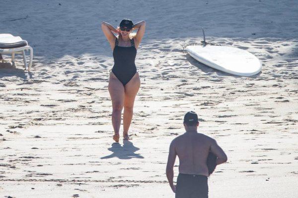 Bebe Rexha In a black swimwear on the beach in Cabo San Lucas 22