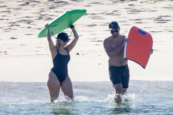 Bebe Rexha In a black swimwear on the beach in Cabo San Lucas 30