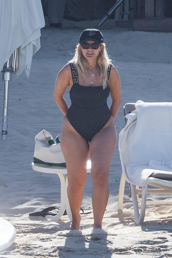 Bebe Rexha In a black swimwear on the beach in Cabo San Lucas 32