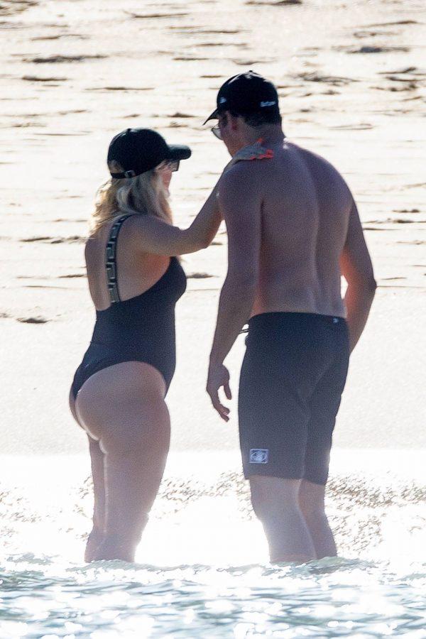 Bebe Rexha In a black swimwear on the beach in Cabo San Lucas 33