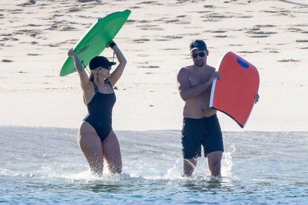 Bebe Rexha In a black swimwear on the beach in Cabo San Lucas 34