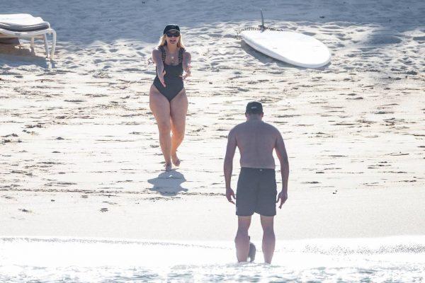Bebe Rexha In a black swimwear on the beach in Cabo San Lucas 46