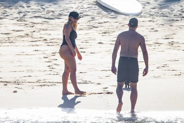 Bebe Rexha In a black swimwear on the beach in Cabo San Lucas 51
