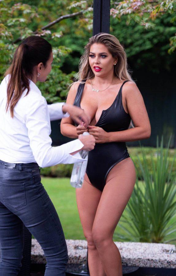 Bianca Gascoigne In Black PVC swimsuit shooting her 2020 calendar in Turkey 05