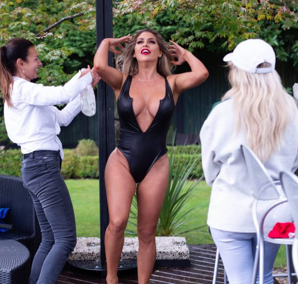 Bianca Gascoigne In Black PVC swimsuit shooting her 2020 calendar in Turkey 07