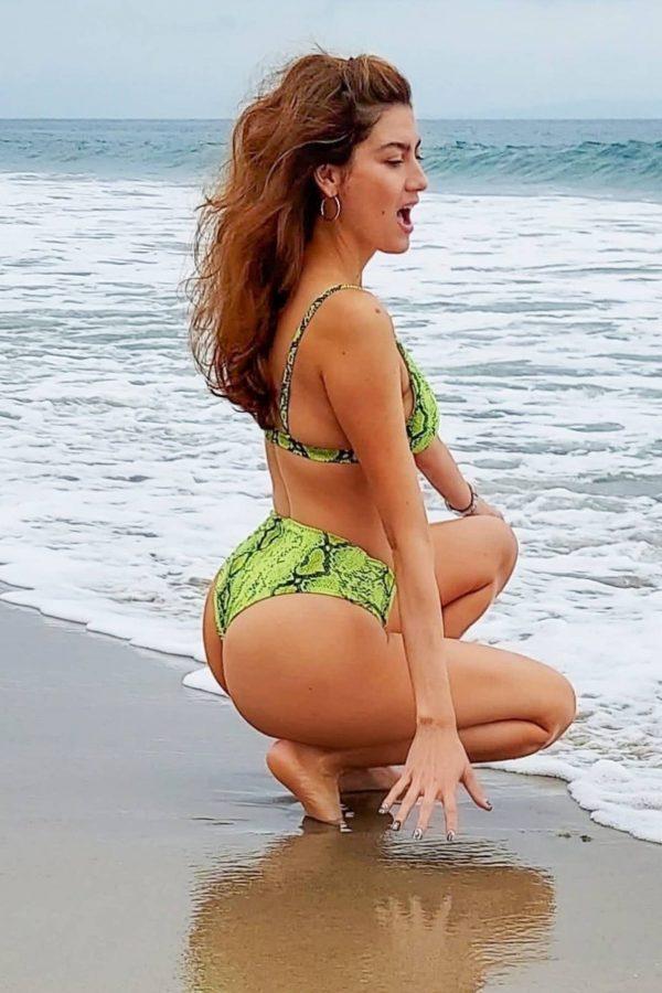 Blanca Blanco In green bikini heads to the beach in Malibu 02