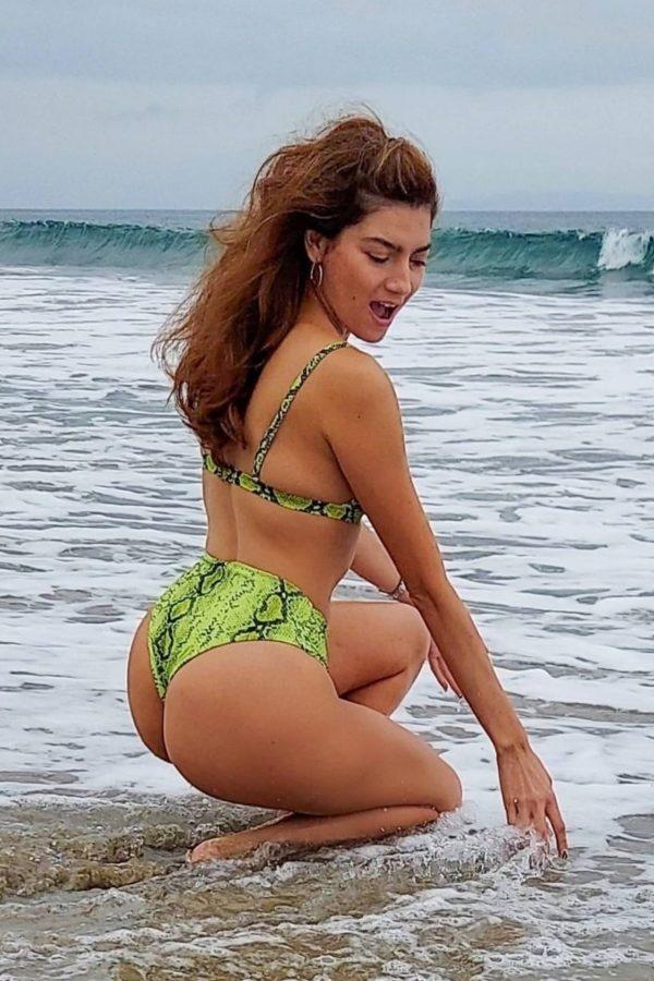 Blanca Blanco In green bikini heads to the beach in Malibu 03