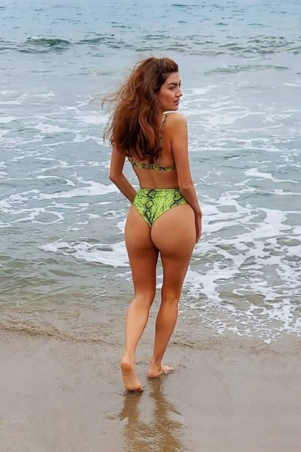 Blanca Blanco In green bikini heads to the beach in Malibu 05
