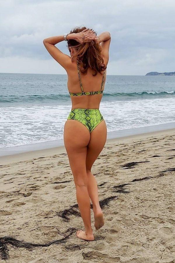 Blanca Blanco In green bikini heads to the beach in Malibu 10
