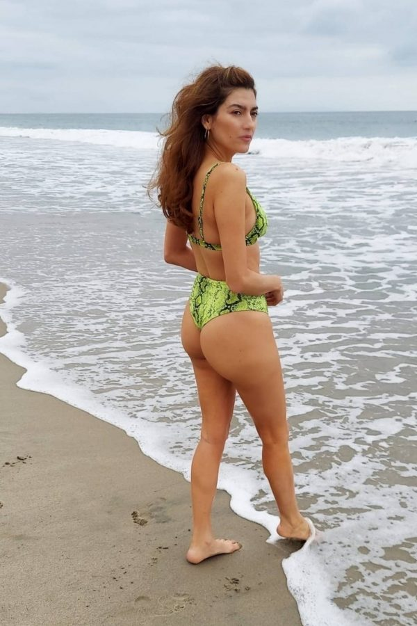 Blanca Blanco In green bikini heads to the beach in Malibu 19