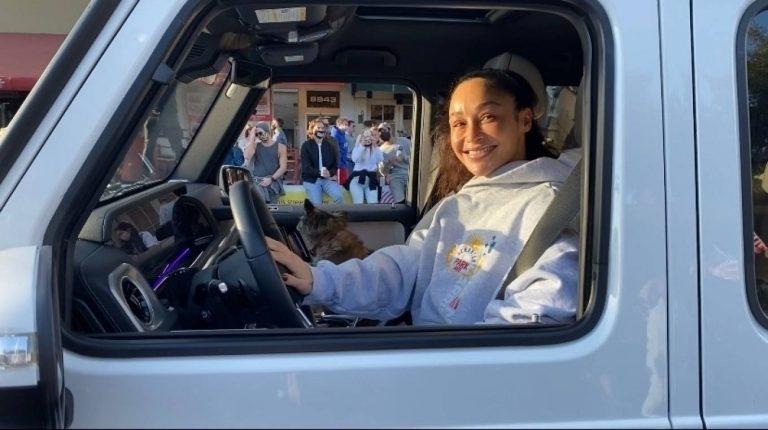 Cara Santana Rides through Bidens victory parade in West Hollywood 20