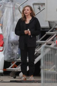 Chloe Grace Moretz Filming Sci Fi film Mother Android in Boston 07