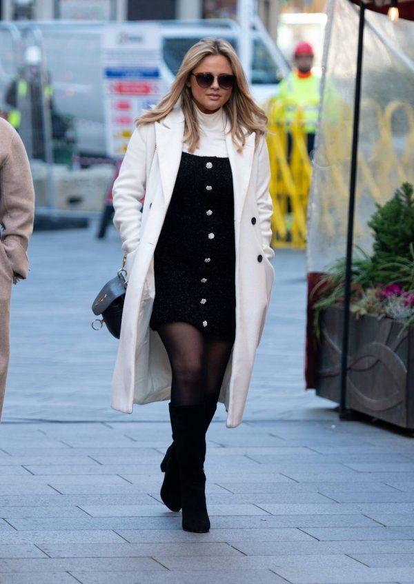Emily Atack Seen arriving at Global Radio in London 02