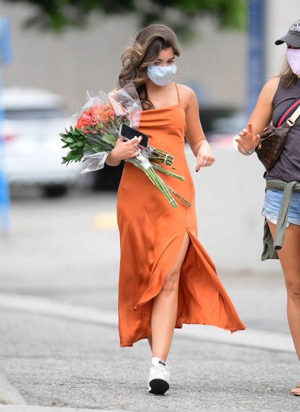 Hannah Ann Sluss In orange dress out in Los Angeles 02
