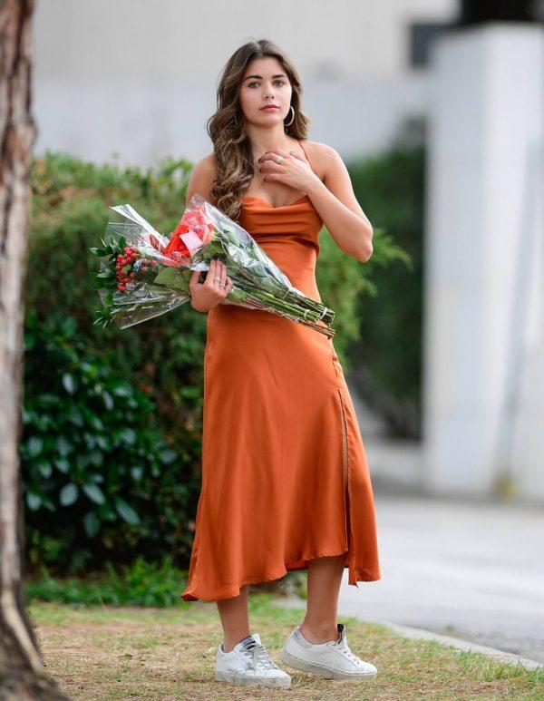 Hannah Ann Sluss In orange dress out in Los Angeles 03