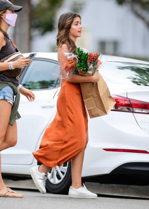 Hannah Ann Sluss In orange dress out in Los Angeles 05
