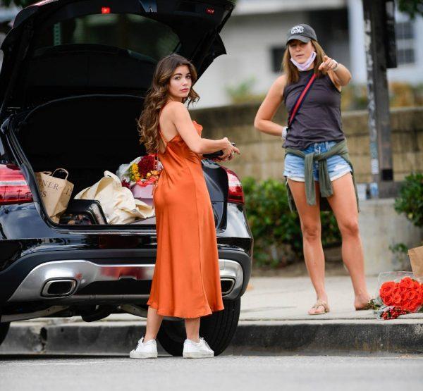 Hannah Ann Sluss In orange dress out in Los Angeles 06