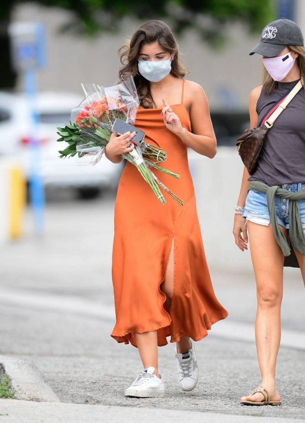 Hannah Ann Sluss In orange dress out in Los Angeles 08