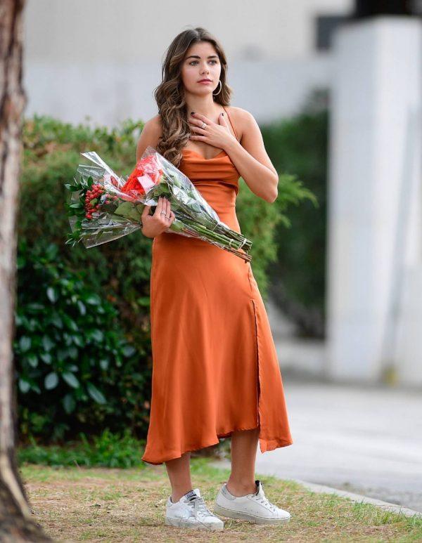 Hannah Ann Sluss In orange dress out in Los Angeles 09