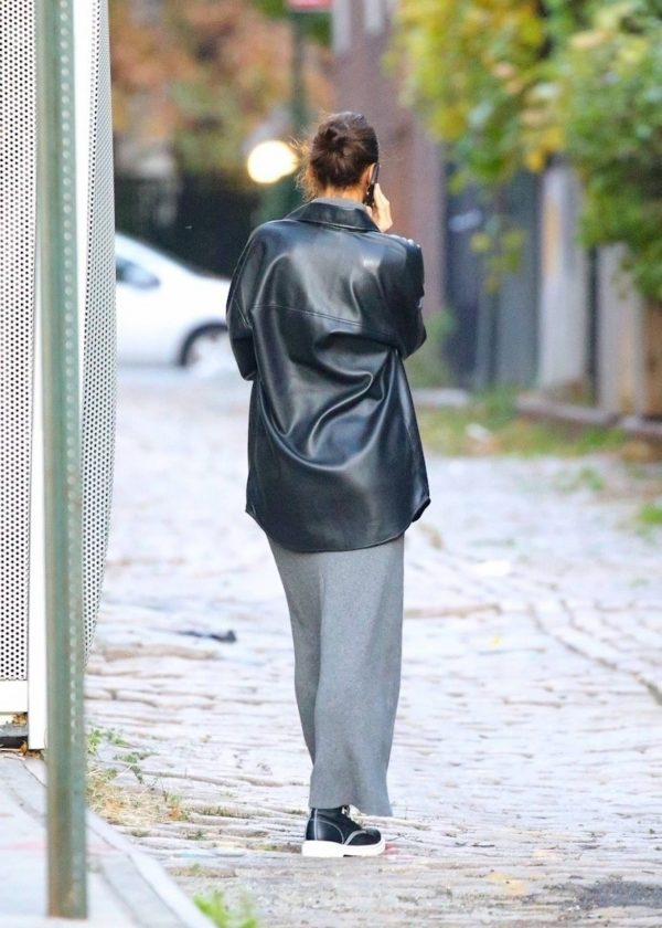 Irina Shayk In a monochrome ensemble while out in NY 01