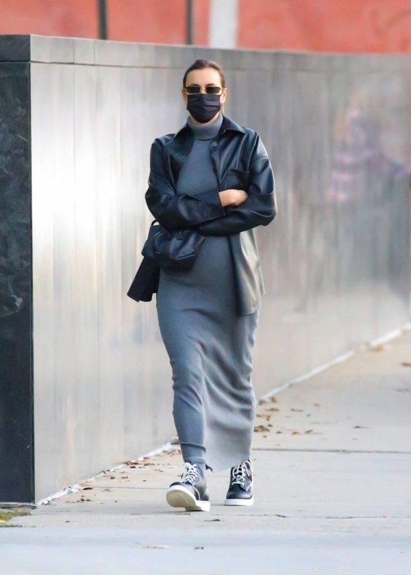 Irina Shayk In a monochrome ensemble while out in NY 02