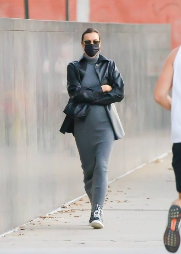 Irina Shayk In a monochrome ensemble while out in NY 07