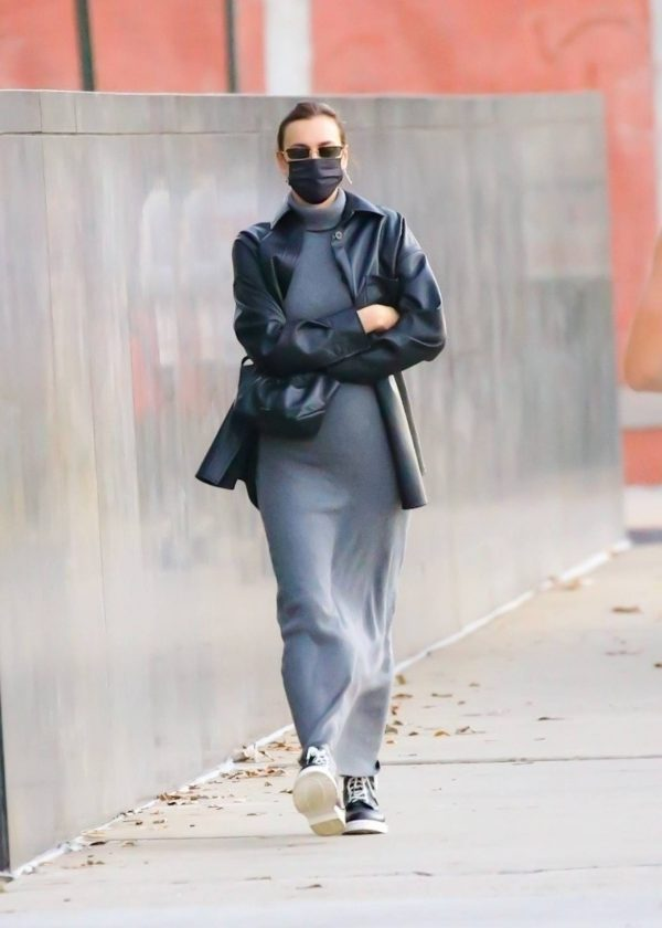 Irina Shayk In a monochrome ensemble while out in NY 08