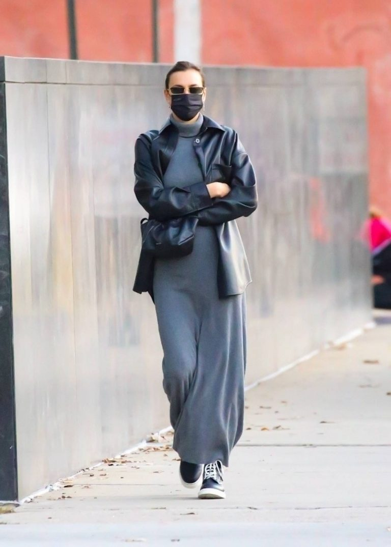 Irina Shayk In a monochrome ensemble while out in NY 09