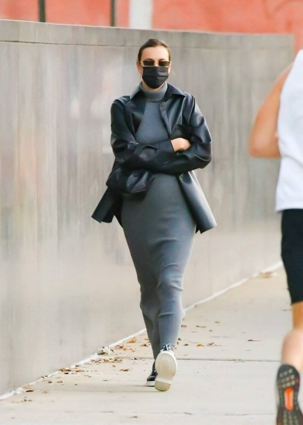 Irina Shayk In a monochrome ensemble while out in NY 11