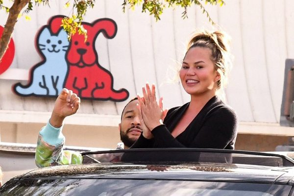 John Legend and Chrissy Teigen celebrate the Joe Bidens win while riding around in West Hollywood 14