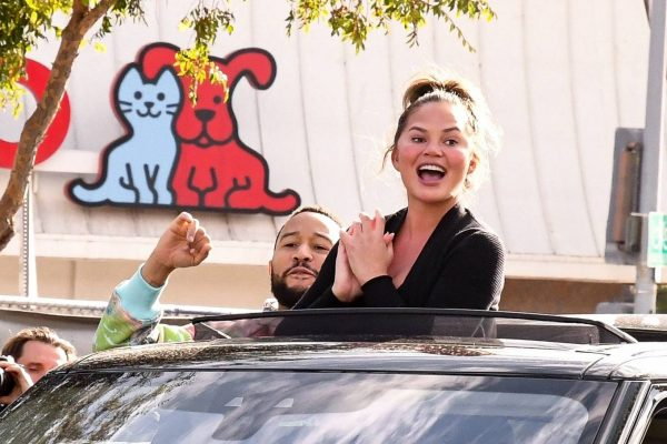 John Legend and Chrissy Teigen celebrate the Joe Bidens win while riding around in West Hollywood 25