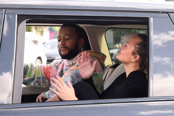 John Legend and Chrissy Teigen celebrate the Joe Bidens win while riding around in West Hollywood 26