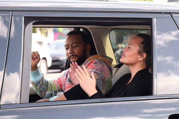John Legend and Chrissy Teigen celebrate the Joe Bidens win while riding around in West Hollywood 27