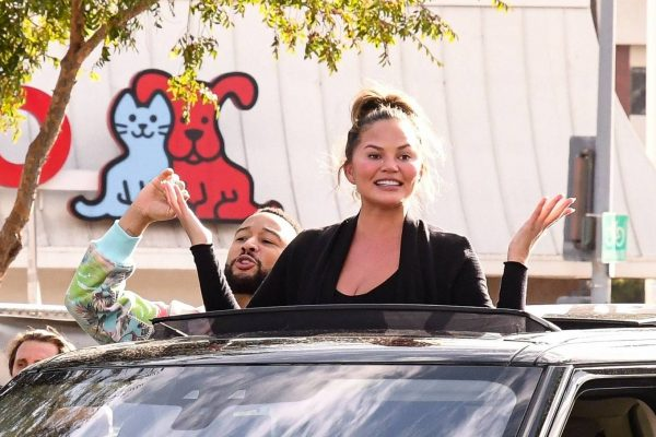 John Legend and Chrissy Teigen celebrate the Joe Bidens win while riding around in West Hollywood 28