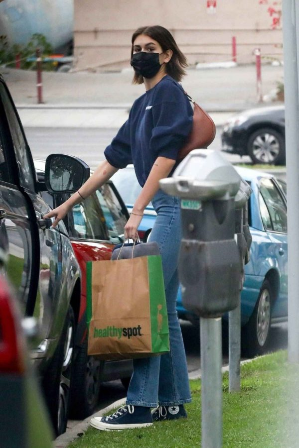 Kaia Gerber and Jacob Elordi shop at Healthy Spot with Kaias dog Milo 12