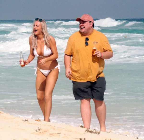 Katie McGlynn In white bikini on the beach in Mexico 02