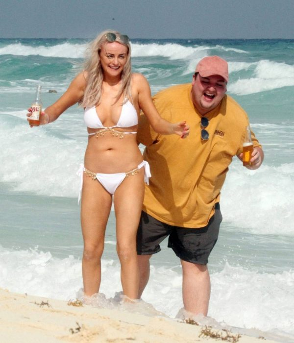 Katie McGlynn In white bikini on the beach in Mexico 07