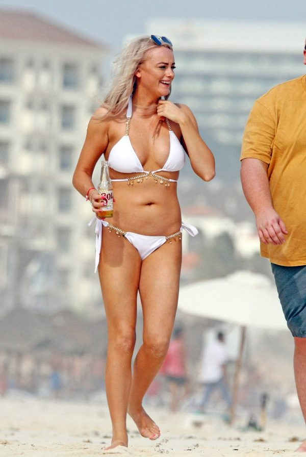 Katie McGlynn In white bikini on the beach in Mexico 09