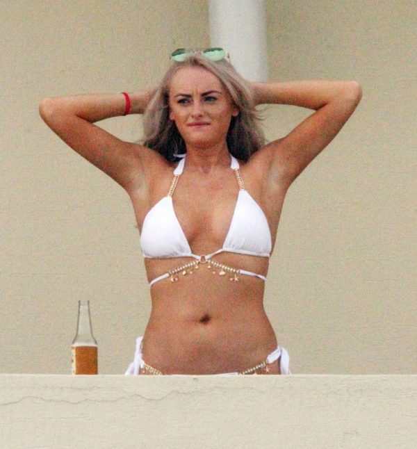 Katie McGlynn In white bikini on the beach in Mexico 10